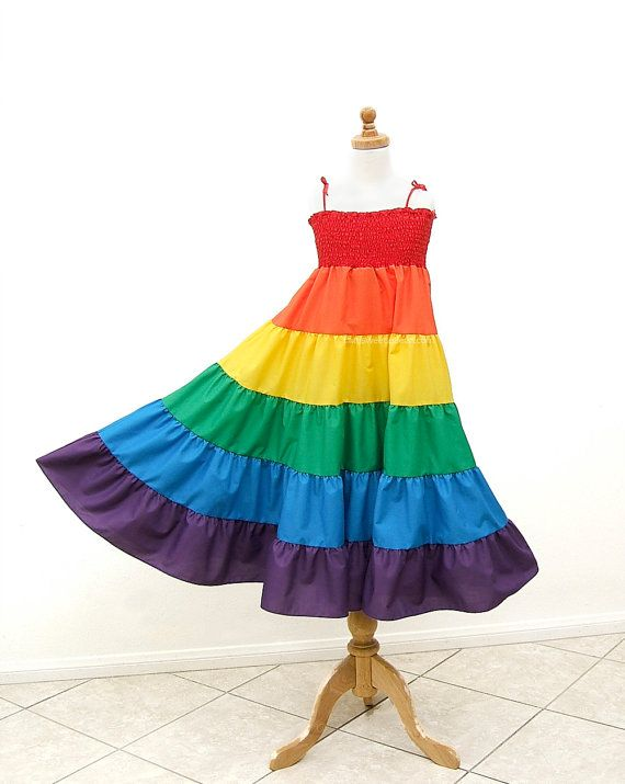 Rainbow Twirl Dress Rainbow Dress Size Medium by MySweetieBean, $79.95