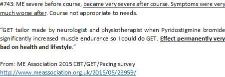 A negative experience of #GradedExerciseTherapy from ME Association 2015 #MEcfs CBT/GET/Pacing survey  http://www.meassociation.org.uk/2015/05/23959