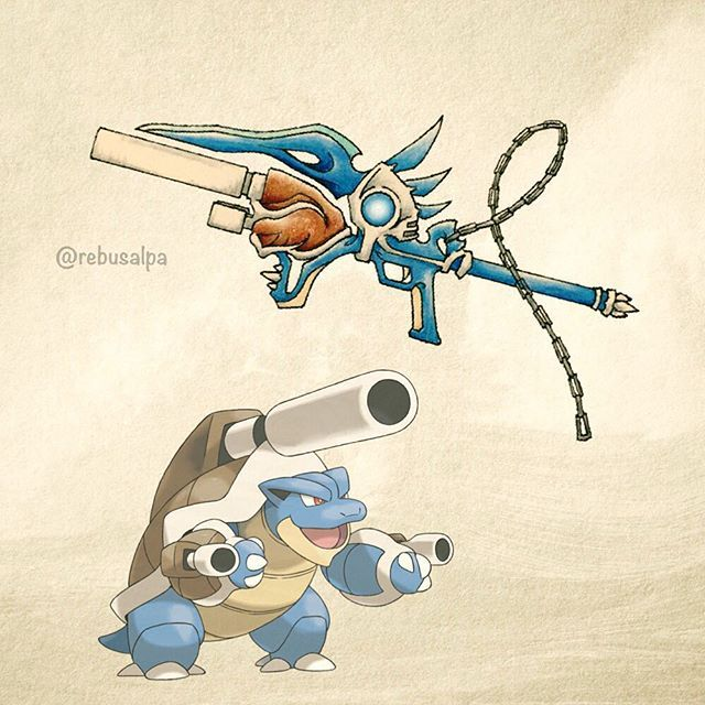Pokeapon No. 009 - Mega Blastoise. looks like a keyblade to me
