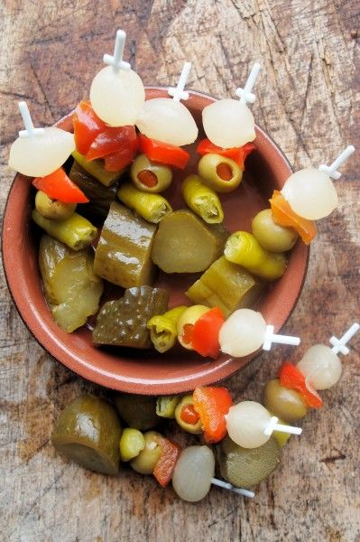 ~ Banderillas Picantes ~  Pickles on Skewers for Tapas