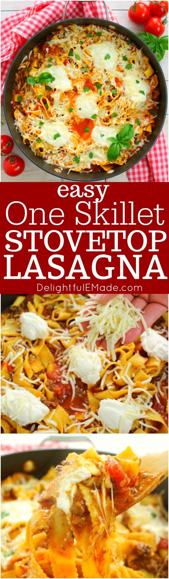 Need a quick and easy dinner solution? This One Skillet Stove Top Lasagna is perfect for busy weeknights when you're rushed for time. Made with everyday staples from ALDI, this delicious and simple pasta recipe will be a new favorite with everyone in your family! #ad #ALDILove #stovetoplasagna #oneskilletlasagna #lasagna #DelightfulEMade