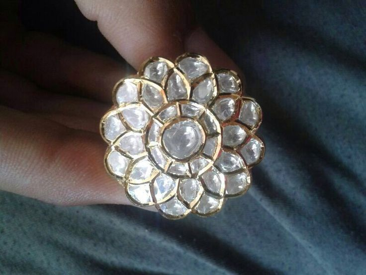 Kundan daimond white polki jadau gold ring