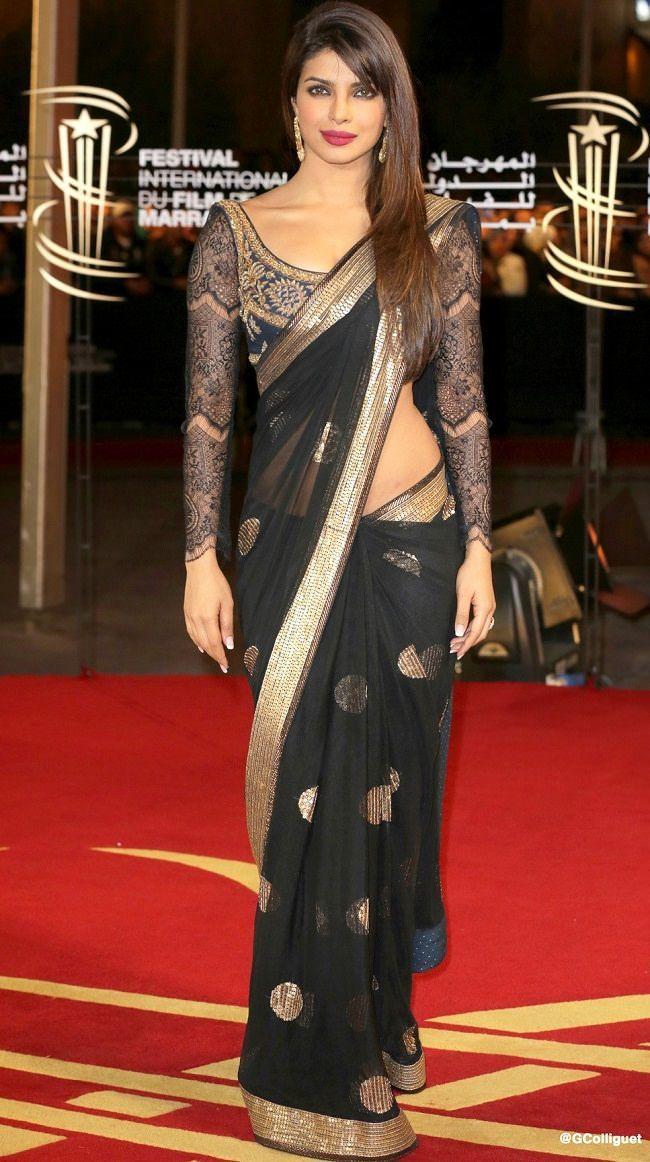 Priyanka Chopra in Black Net Saree with Stitched Blouse by Designer Ritu Kumar....        #PriyankaChopra, #BlackSaree, #Net, #RituKumar, #Designer