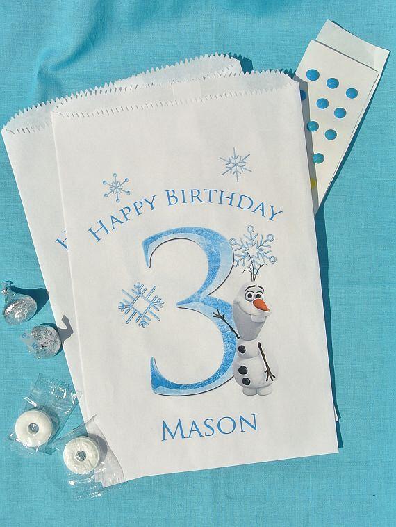 Olaf Birthday Favors | Frozen Party | Frozen Candy Bags by abbeyandizziedesigns on Etsy https://www.etsy.com/listing/199530557/olaf-birthday-favors-frozen-party-frozen