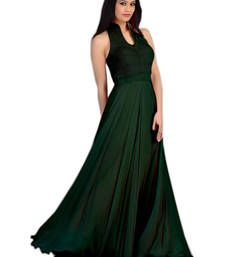 Buy Green Plain Velvet and  Georgette semi stitched party-wear-gowns party-wear-gown online