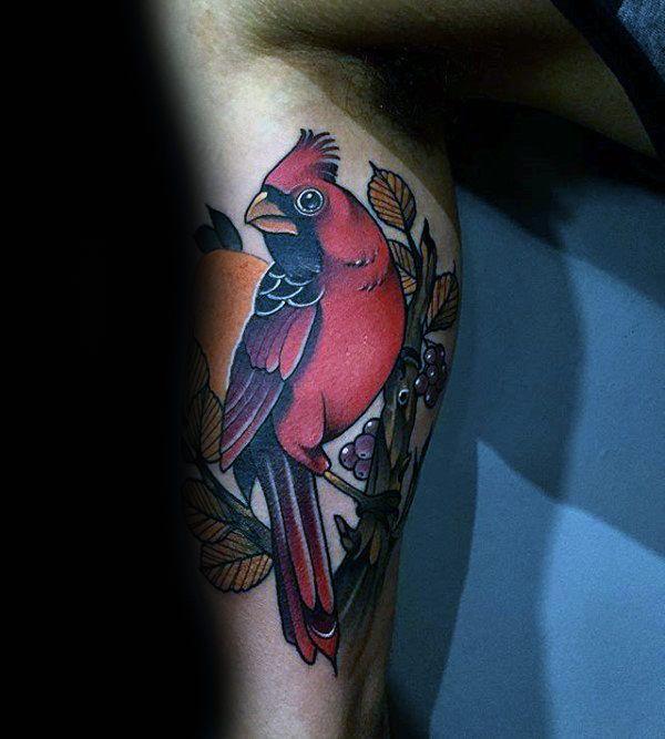 60 Cardinal Tattoo Designs For Men Bird Ink Ideas Neo Traditional Tattoo Cardinal Tattoos Tattoo Designs Men