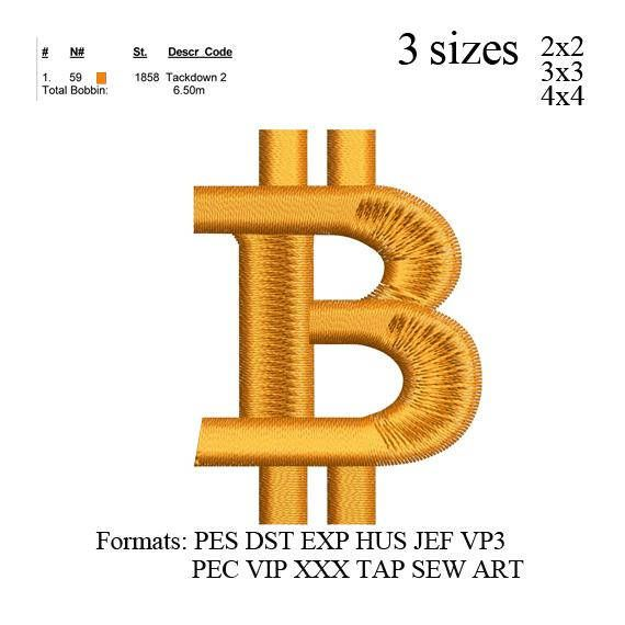 Bitcoin currency Symbol embroidery design Bitcoin currency