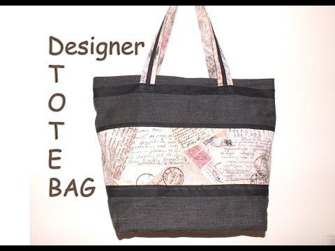 ▶ Designer tote hand bag / Recycled jeans / with zip closure - YouTube