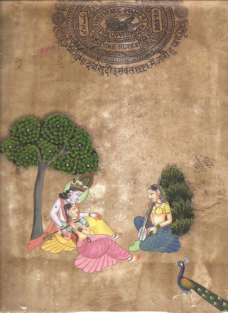 Sanskrit Of The Vedas Vs Modern Sanskrit: Krishna Radha Watercolor Image Painting Handmade Hindu God