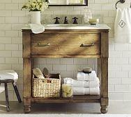 country style: Small Bathroom, Guest Bathroom, Half Bath, Subway Tile, Sinks Console, Rustic Bathrooms, Bathroom Sinks, Rustic Bathroom Vanities, Pottery Barns