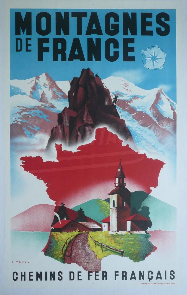 FRANCE - Montagnes de France - Chemins de fer français -  Max Ponty (ca 1930) #Vintage #Travel