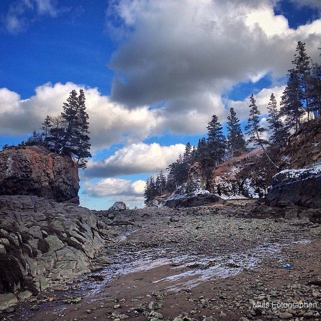 """Walking the ocean floor on the Bay of Fundy before the tide comes in."" 