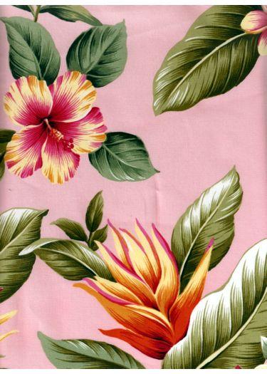 14wehi Tropical Hibiscus & bird of paradise, plumeria flowers, vintage apparel style fabric.  More fabrics at: BarkclothHawaii.com