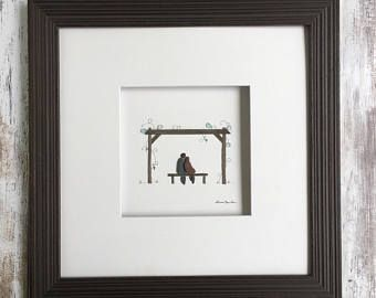 Pebble Art romantisch Vine werf door Sharon Nowlan, pebble kunst komt gematteerde of ingelijst in 12 bij 12 frame wijnland bruiloft