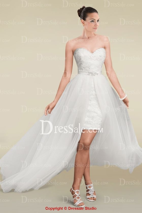 Awesome Fabulous High low Sweetheart Neckline Wedding Dress Features Crystal Beaded Lace