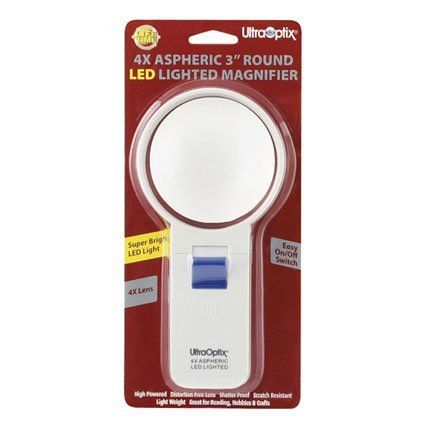 "UltraOptix Round LED Magnifier 4 Power - 3"" Round LED Lighted Magnifier 4 Power - SV-3LPLEDSV-3LPLED by Ultra Optix. $14.95. UltraOptix Round LED Magnifier 4 Power The UltraOptix Round LED Magnifier 4 Power is a 3-inch round magnifier great for reading small print. Ideal for"