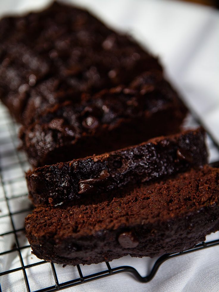 Vegan Chocolate Zucchini Bread. Really good! Batter looks very thin in two pans, but don't be tempted to put it all in one pan. It may not bake through and scorch on the top. S.