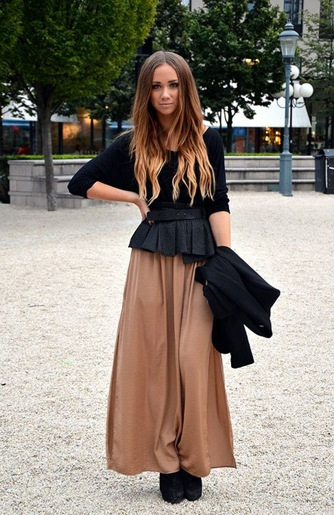 peplum top and maxi skirt how to wear it
