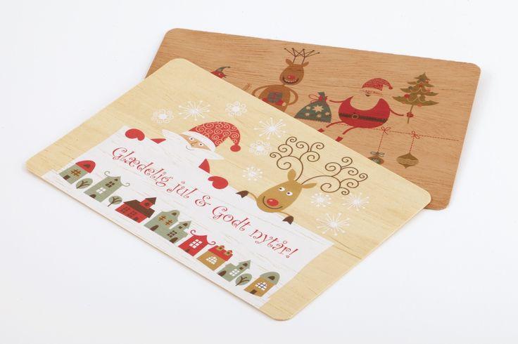 Julekort i træ - Luksus Tryk ApS