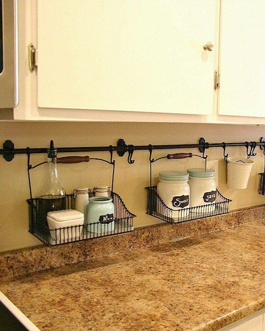 #25. Use your backsplash to store things that would otherwise be taking up…