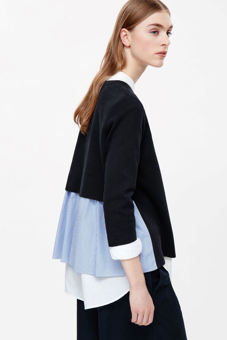 COS image 3 of Top with layered back in Navy