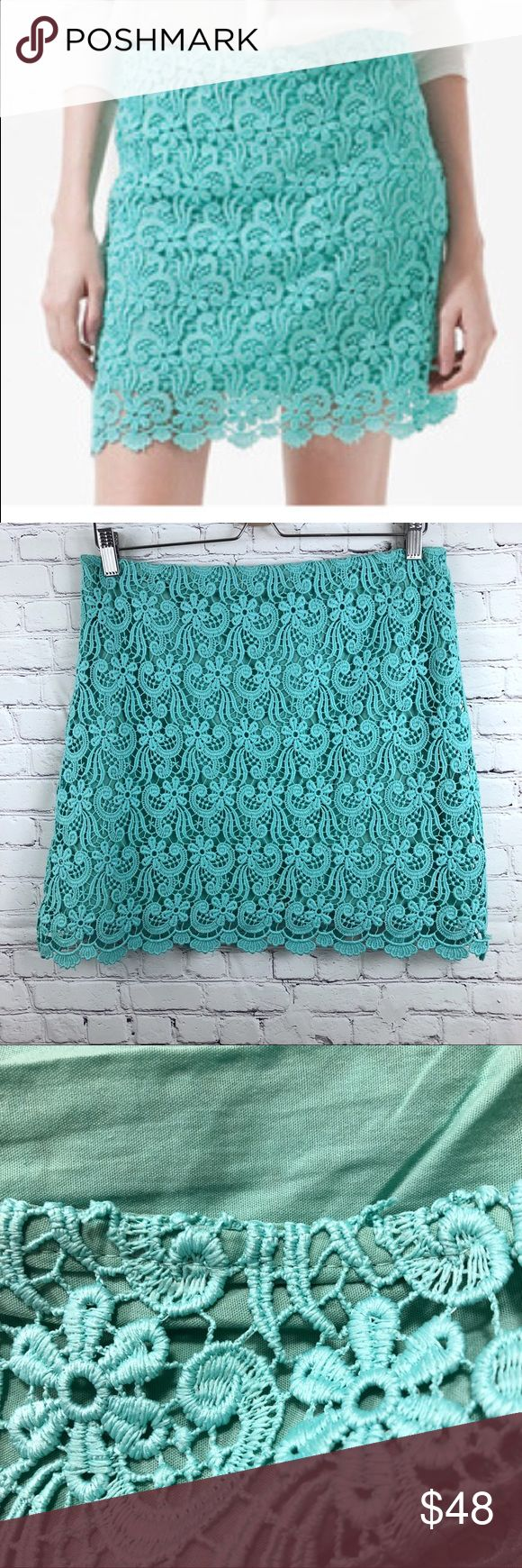 """Zara Guipure Lace Mini Skirt Aqua Blue  Size M Zara Guipure Lace Mini Skirt Aqua Blue  Size M. Size Zipper. Lined. Scallop Hem. Measurements approximate laying flat  Waist :16"""" Length 17"""" Gently pre-owned. Excellent condition. Please see all photos for details. Zara Skirts Mini"""