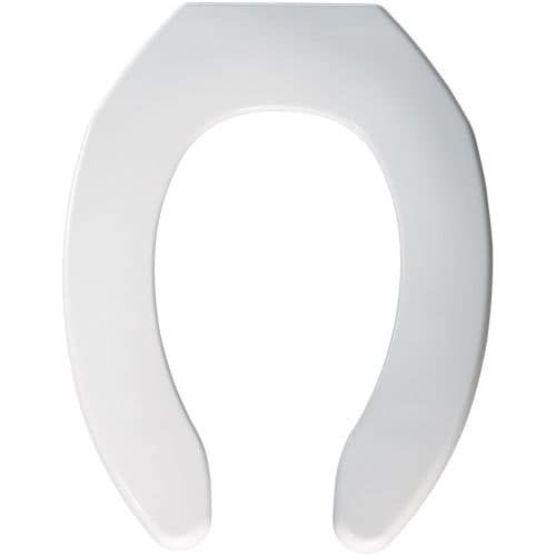 Bemis 1055SSC Elongated Commercial Plastic Open Front Less Cover Toilet Seat with Self-Sustaining Check Hinge, Silver stainless steel