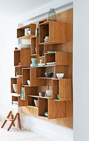 Unique wood shelving unit.