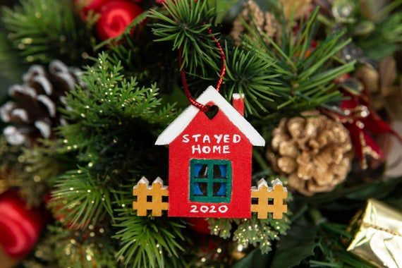 Christmas Year Of The Lockdown Wood Heart Tree Decoration Hanging Bauble Gift.R