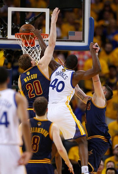 Golden State Warriors' Harrison Barnes (40) dunks the ball against Cleveland Cavaliers' Timofey Mozgov (20) in the fourth quarter of Game 5 of the NBA Finals at Oracle Arena in Oakland, Calif., on Sunday, June 14, 2015. (Nhat V. Meyer/Bay Area News Group)