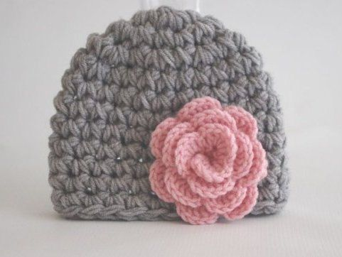 Hey, I found this really awesome Etsy listing at http://www.etsy.com/listing/116237901/crochet-baby-hat-girl-gray-with-pink
