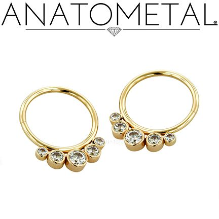 "We love these 3/8"", 18ga Seam Rings with Clusters in solid 18k rose gold: CZ gemstones ordered by The Parlour of Buffalo!"