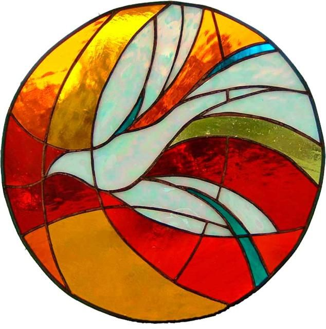 Stained glass dove - the dove represents holy spirit. If we're to have a loft window in the front, this would be a great choice for the tiny house.