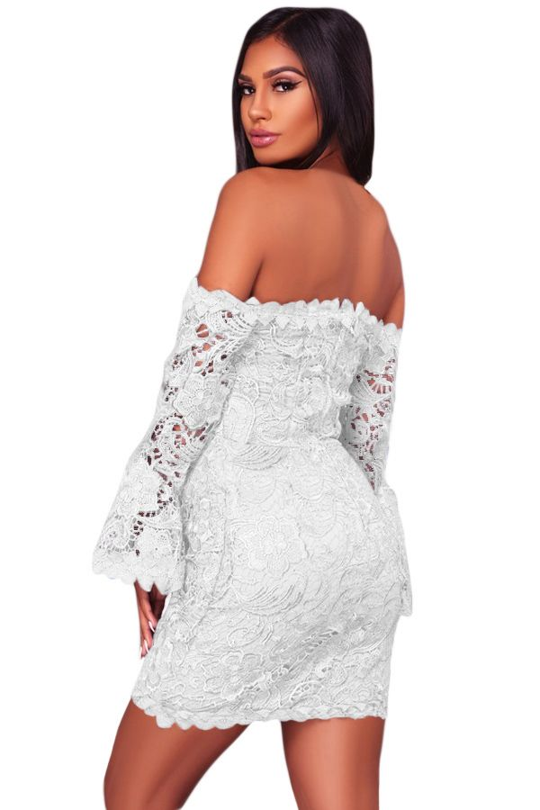 White Fitted Overlay Off The Shoulder Crochet Mini Dress White Crochet Mini Dress Mini Dress Fitted Mini Dress