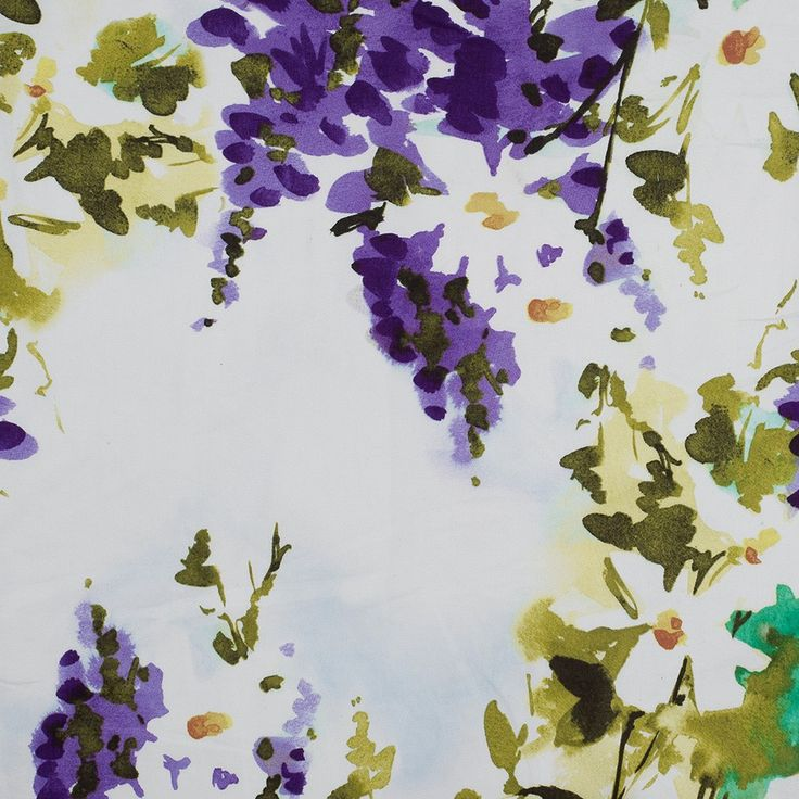 Purple/Green/Yellow Painterly Floral Stretch Cotton Sateen Fabric by the Yard   Mood Fabrics