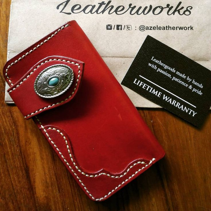 """27 Likes, 1 Comments - AZé Leatherworks (@azeleatherwork) on Instagram: """"""""RED KID WALLET"""" ••• Material Descriptions : - Indonesian Vegetable Tanned Leather - Hand dyed with…"""""""