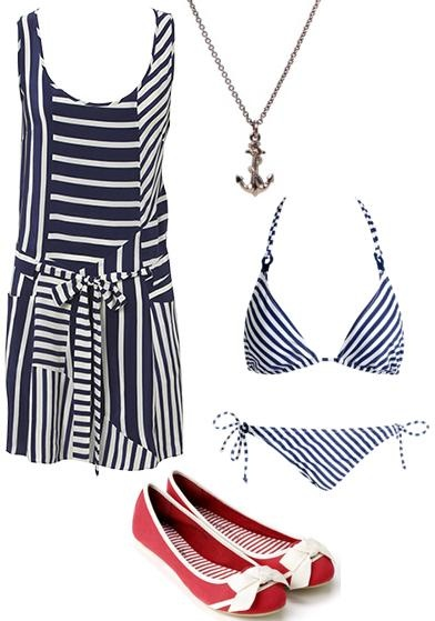 Asymmetrical Nautical Print Silk Dress by Oasis    Nautical Triangle Bikini Top and String Brief by Accessorize    Vintage-style Anchor Necklace by ASOS    White Bow, Red Canvas Ballerinas by Accessorize
