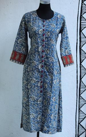 long kurta - blue & button down