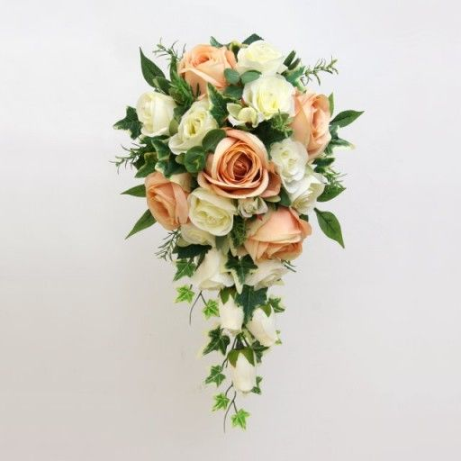 Artificial Silk Wedding Flowers - Antique Peach Shower Bouquet