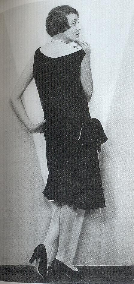 """Adele Astaire, dancer, actress and sister of Fred wears a sleek 'little black dress', 1928."" Scanned from the book ""Decades of Fashion"". Adele Astaire, 1928"