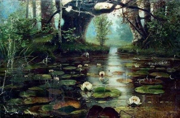 Юлий Клевер Пруд с белыми лилиями 1893