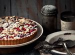 Gluten-free Kirsch Soaked Rhubarb and Blueberry Tart with Almond and Amaranth Pastry