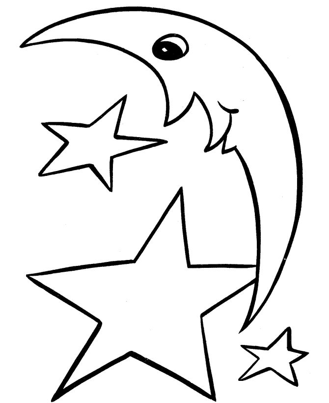 easy shapes coloring pages moon ahd stars - Free Easy Coloring Pages