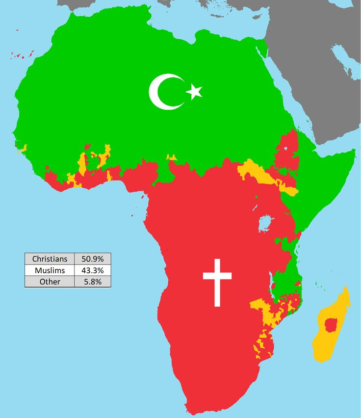 Simplified Map of Africa's Religions