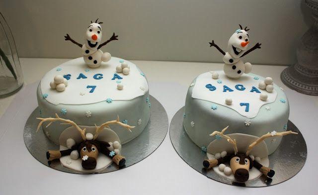 Nilla's Handicraft: Sagas 7-års tårta med Olaf och Sven från Frozen