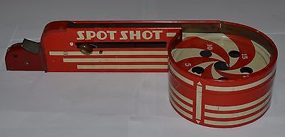 ANTIQUE-1934-TIN-TOY-SPOT-SHOT-MARBLE-GAME-WOLVERINE-SUPPLY-MFG-CO-RED-USA