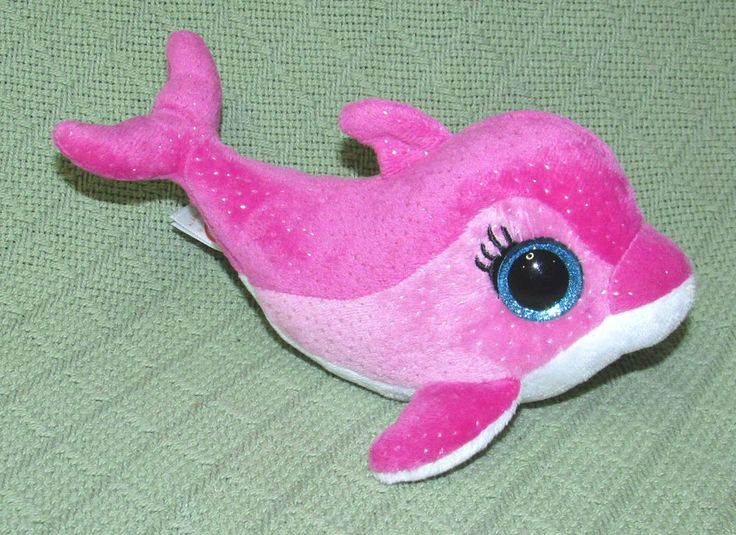 "Ty SURF 6"" Beanie Boos 2014 Plush Stuffed PINK Dolphin Blue Sparkly Eyes EAR TAG #Ty"