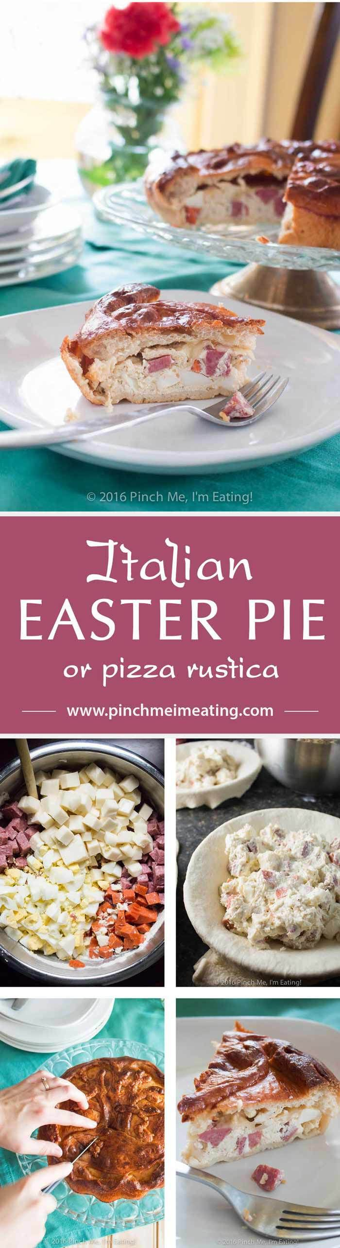 This traditional Italian Easter pie is a chance to indulge on Italian meats and cheeses — salami, pepperoni, mozzarella, ricotta, and hard boiled eggs — after the long fast of Lent. Also called pizza rustica, it's a hearty filling between a double crust of pizza dough.   www.pinchmeimeating.com