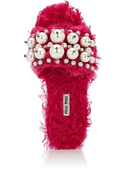 Miu Miu Pearl Embellished Mohair Shearling Slide Sandals