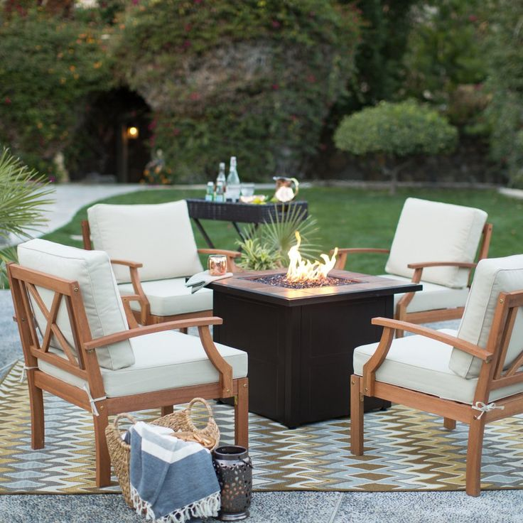 Belham Living Brighton 32 in. Deep Seating Wood Fire Pit Chat Set